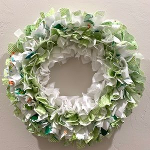 Handmade Repurposed Fabric Rag Wreath New